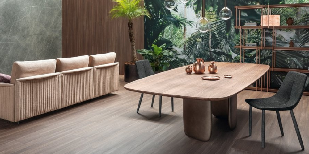 Mellow wooden dining table.