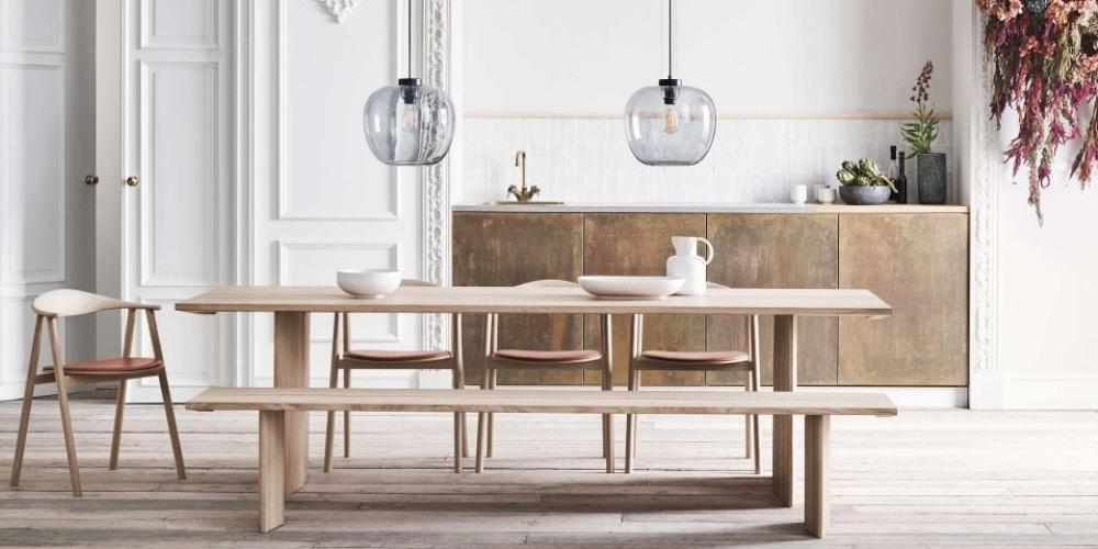 Alp Oiled Oak wooden, white dining bench.